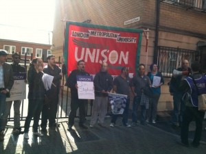 UNISON protest against the threatened sacking of Stephane - we won!
