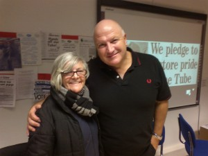 Ros Hanmer with Bob Crow, Feb 2014